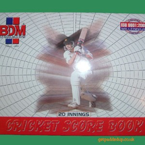 BDM 20 inns paper back cricket score book