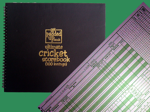 get padded up cricket score book